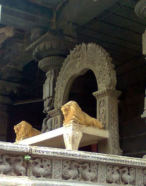 Stone carvings on the walls of simhachalam temple
