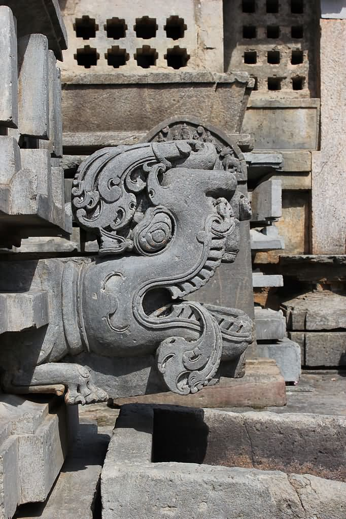Gomukai the water spout from the sanctum in mangaladevi temple karnataka india - Decorative water spouts ...