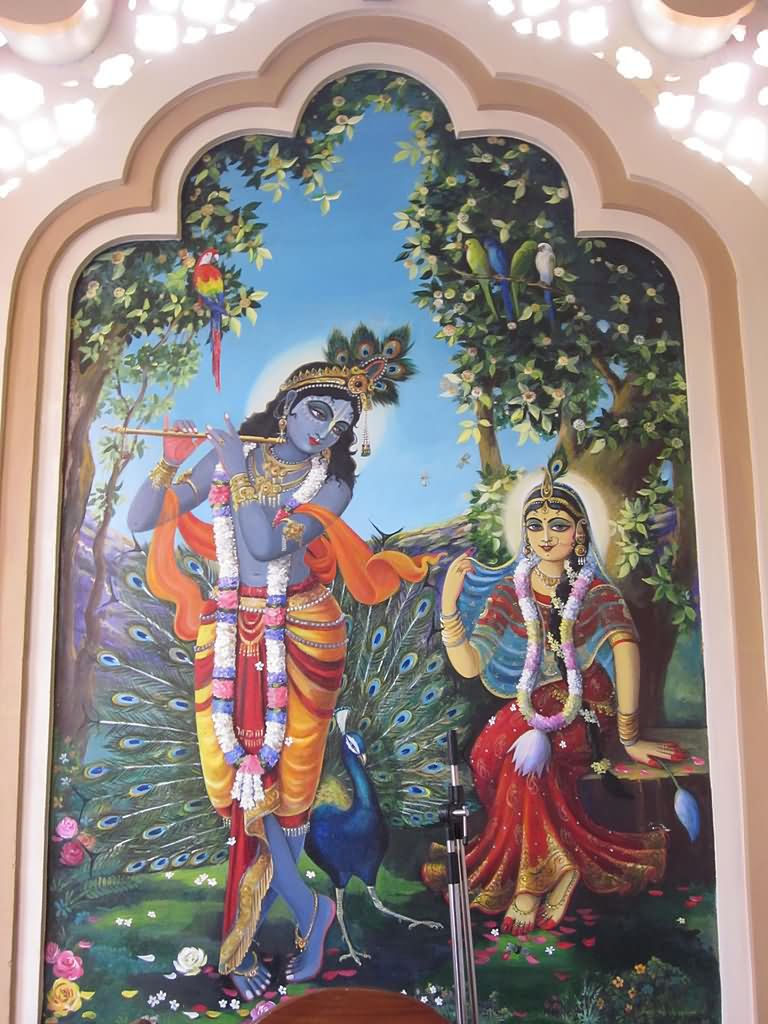 Painting of radha krishna in banke bihari temple for Mural radha krishna