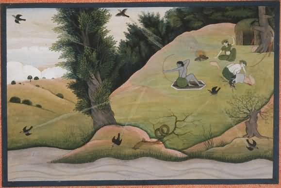Rama Pursues Kakasura With A Magical Grass-Arrow