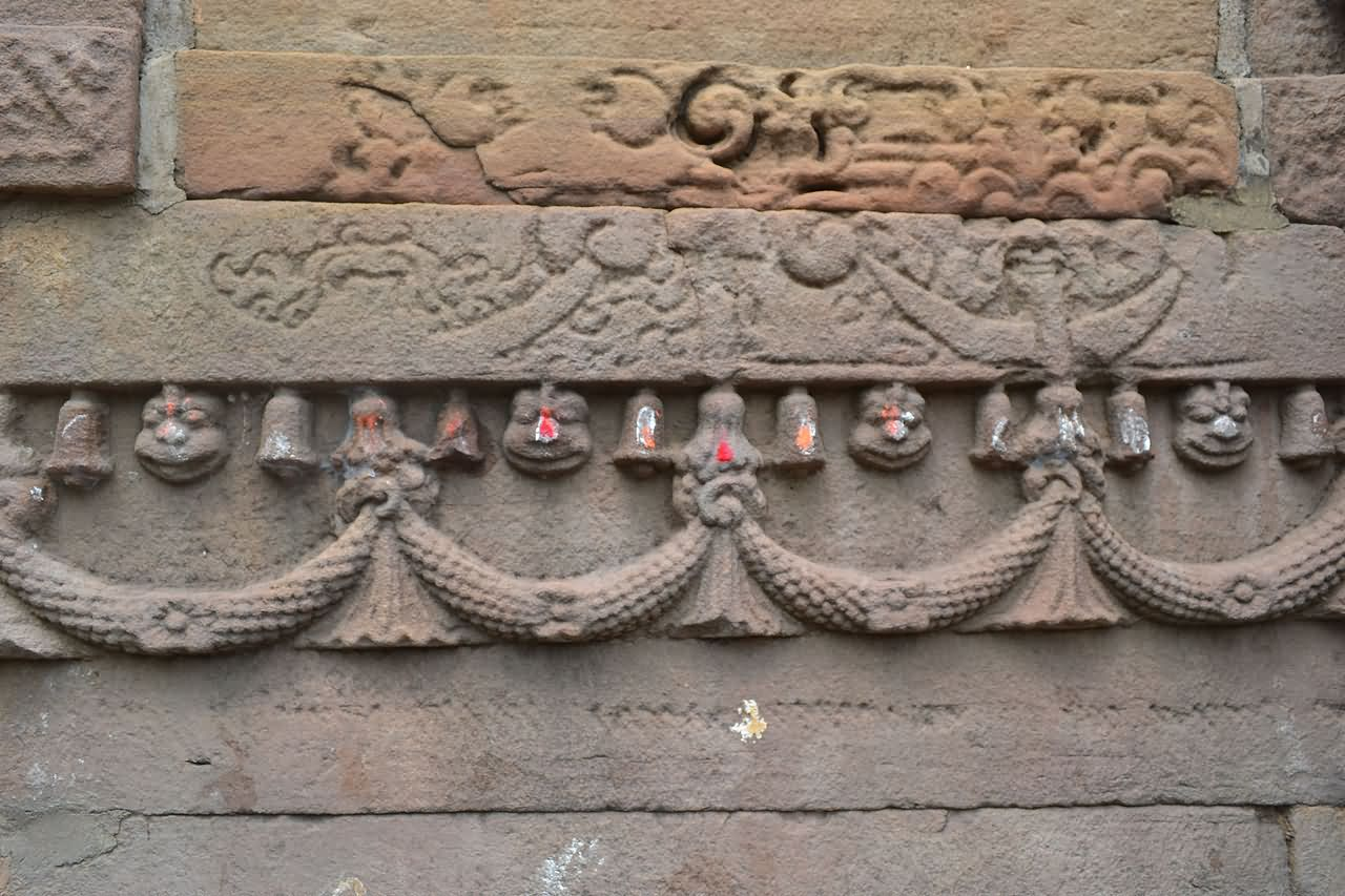 Carvings on the wall of mundeshwari devi temple