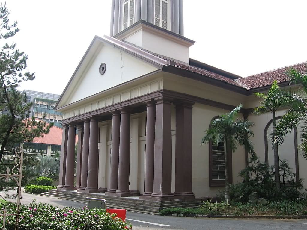 Southern Entrance Of Cathedral Of The Good Shepherd At Singapore