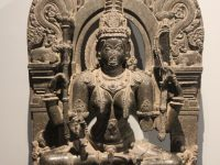 Idol Of Goddess Saraswati Made Of Black Stone