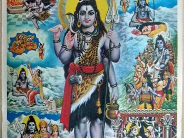 A religious poster that depicts Shiva's family history