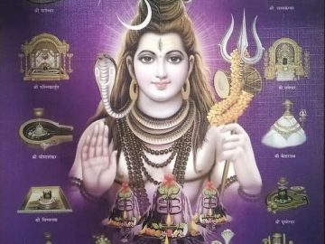 An artistic representation of Lord Shiva and the 12 Jyotirlingas