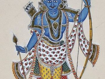 Painting Of Rama. Blue-Skinned And Carrying A Strung Bow With A Quiver Full Of Arrows On His Back
