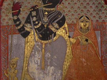 14th Century Fresco Of Lord Krishna On Interior Wall City Palace In Udaipur